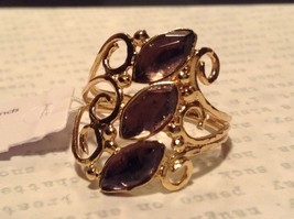 14K Gold Plated Size 8 Ring Light Violet Semi Precious Stones 2 Micron Handmade