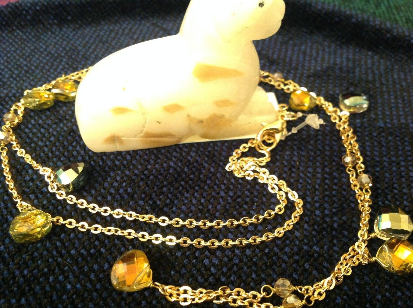 18 Inch Elly Preston Thai Faceted Crystal Pendant Necklace aurora borealis