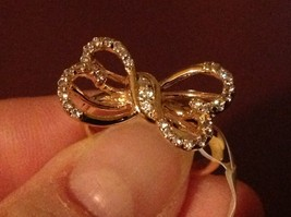 14K gold plated with CZ pave ribbon and bow ring choice size 5 6 7 8 9