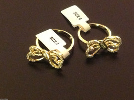 14K gold plated with CZ pave ribbon and bow ring choice size 5 6 7 8 9 image 5