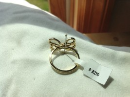 14K gold plated with CZ pave ribbon and bow ring choice size 5 6 7 8 9 image 8