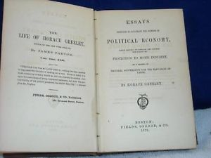 1870 Poltical Economy by Horace Greeley hardcover book