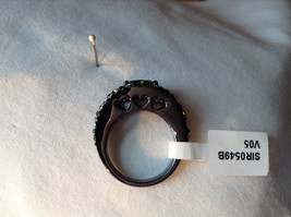 1.5 CT CZ Peridot Black hematite Size choice 5 through 10 hearts on side band image 3