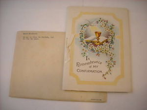 1939 Confirmation Booklet Greeting Card with envelope