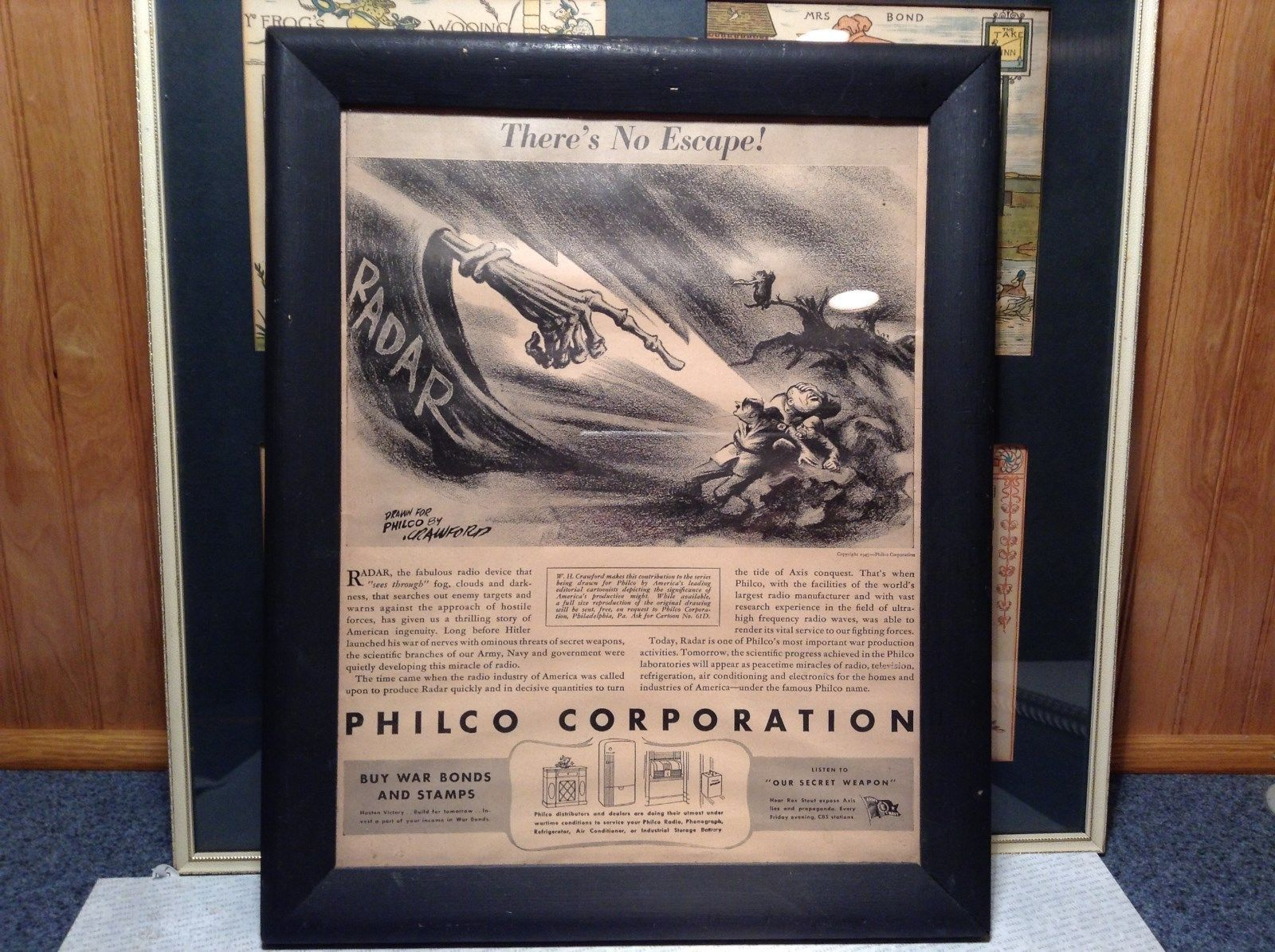 1943 WWII Newspaper Print Theres No Escape in Black Frame Philco Corporation