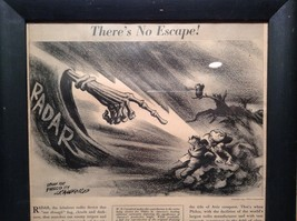 1943 WWII Newspaper Print Theres No Escape in Black Frame Philco Corporation image 2