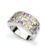 Elegant Rhodium Plated Rainbow Colorful Crystal Cubic Zirconia Ring Love... - $109.40