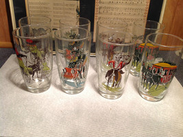 1990s Anchor Set of 8 Glasses Gay Nineties enamel overlay Colorful image 1
