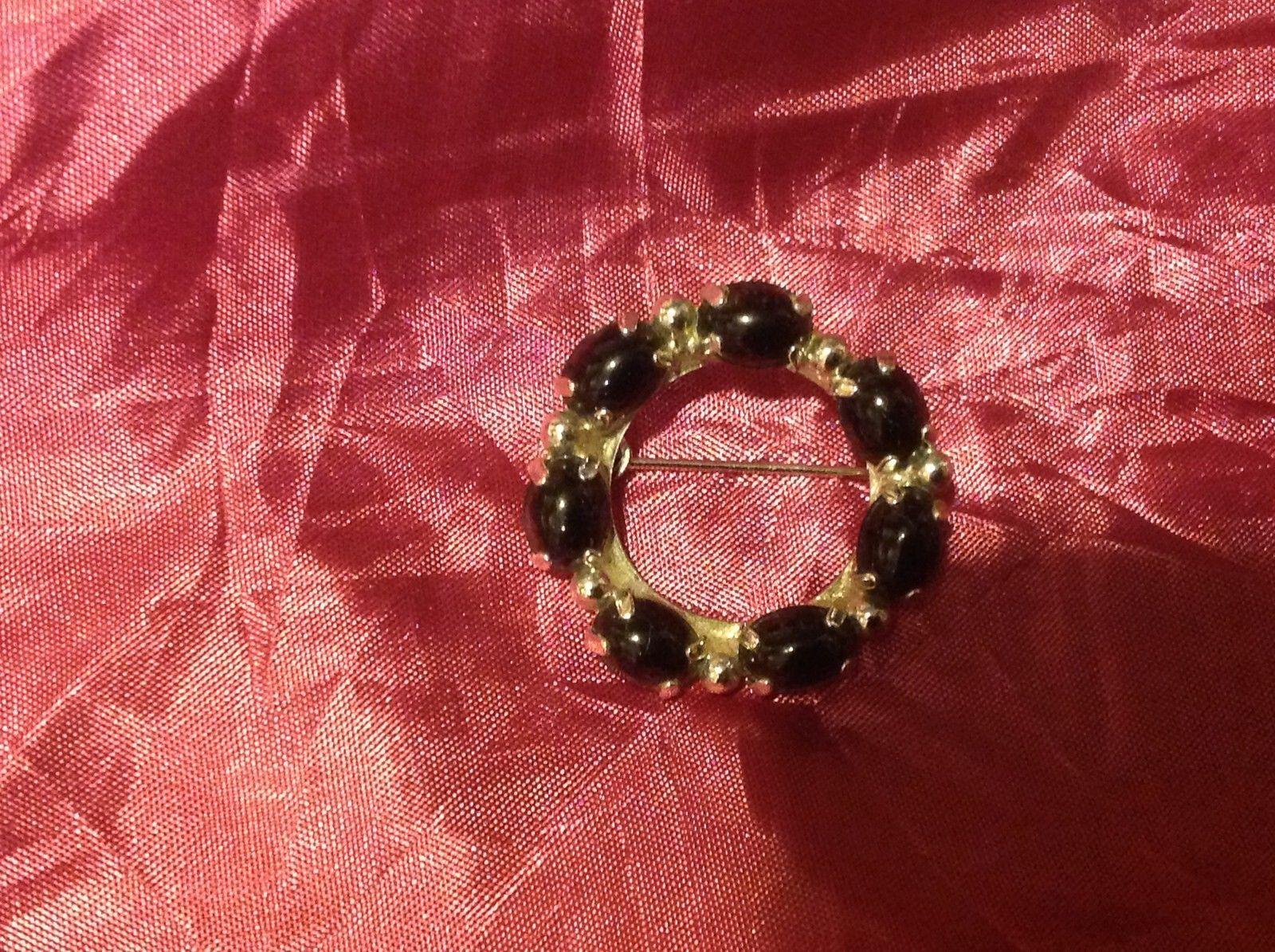 """2"""" Black Circle Brooch Black Silver Color"""