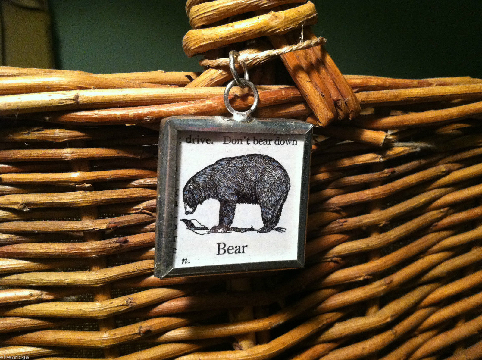 2 Sided Charm - Bear w/ Definition in metal frame