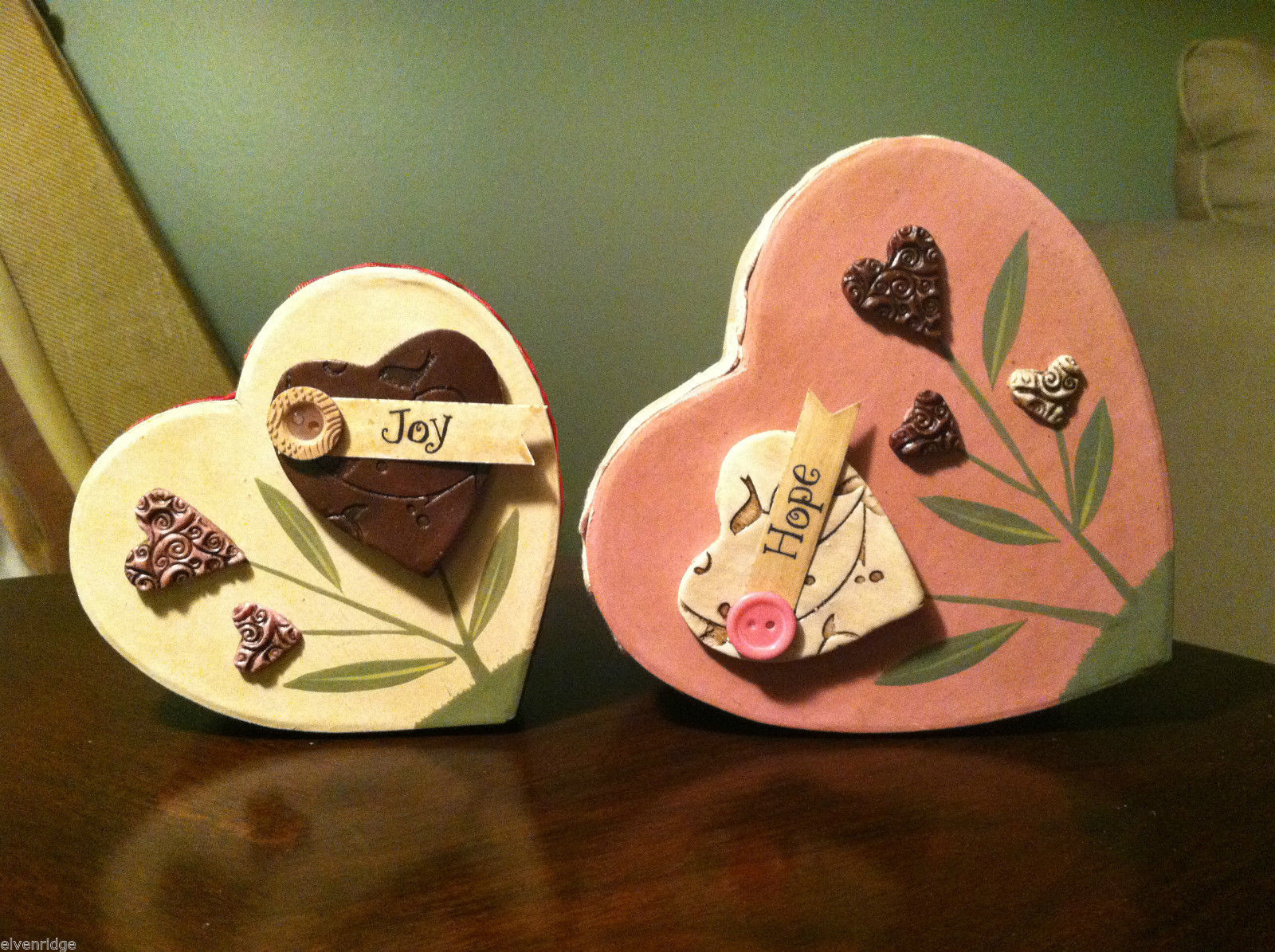 2 Heart Boxes Decorated w/ Wooden Heart Flowers Valentine's Day Decor