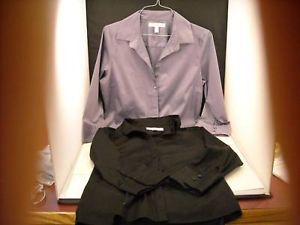2 Women's Blouses Size L Prize Lavender and Black