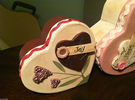 2 Heart Boxes Decorated w/ Wooden Heart Flowers Valentine's Day Decor image 2