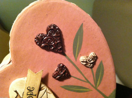 2 Heart Boxes Decorated w/ Wooden Heart Flowers Valentine's Day Decor image 6