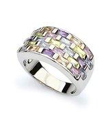 Elegant Rhodium Plated Rainbow Colorful Crystal Cubic Zirconia Ring Love... - $109.40