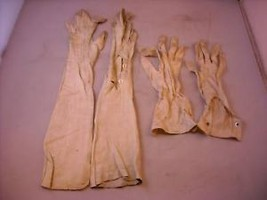 2 Pair White Ladies Gloves 1 Leather 1 Fabric