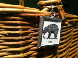 2 Sided Charm - Bear w/ Definition in metal frame image 2