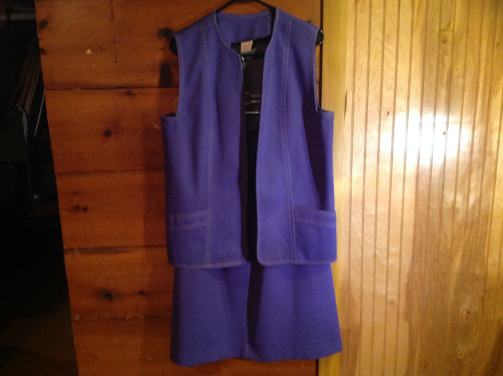 2 PC Blue Violet Open Vest Skirt Set Graff Californiawear Vest SZ  L Skirt SZ M