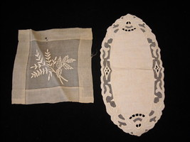 2 Lace and Embroidered antique decorative table setting