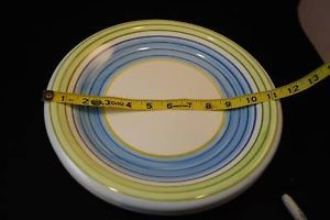 2 Salute Ceramic Plates  green w blue stripe circles