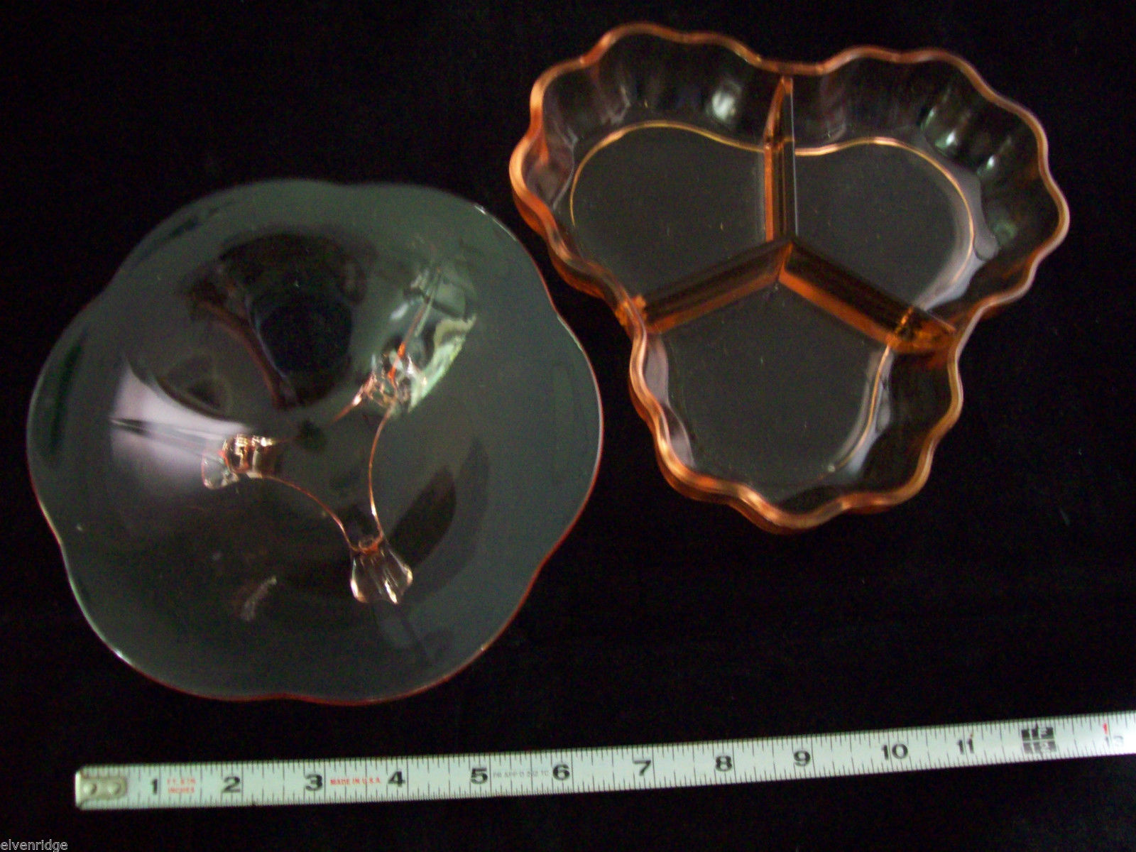 2 Peach Pink colored glass candy or side serving dishes depression ware