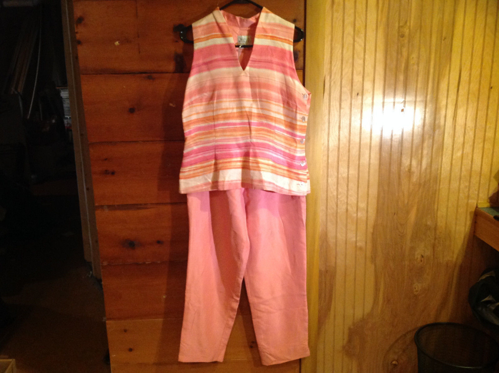 2 Piece Pink Orange Sleeveless Shirt and Pant Set David Warren New York Size 12