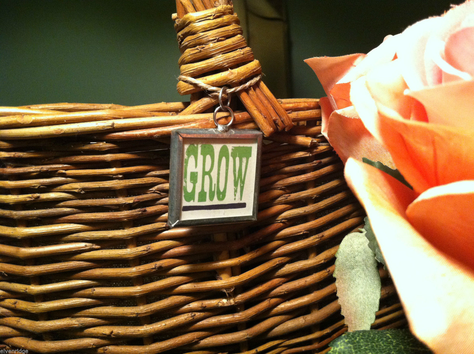 "2 Sided Charm - ""Grow"" w/ picture of Watering Can"