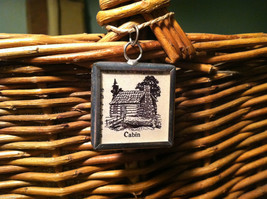 2 Sided Charm - Cabin in the Woods w/ Definition in metal frame