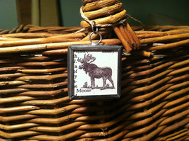 2 Sided Charm - Moose w/ Definition in metal frame