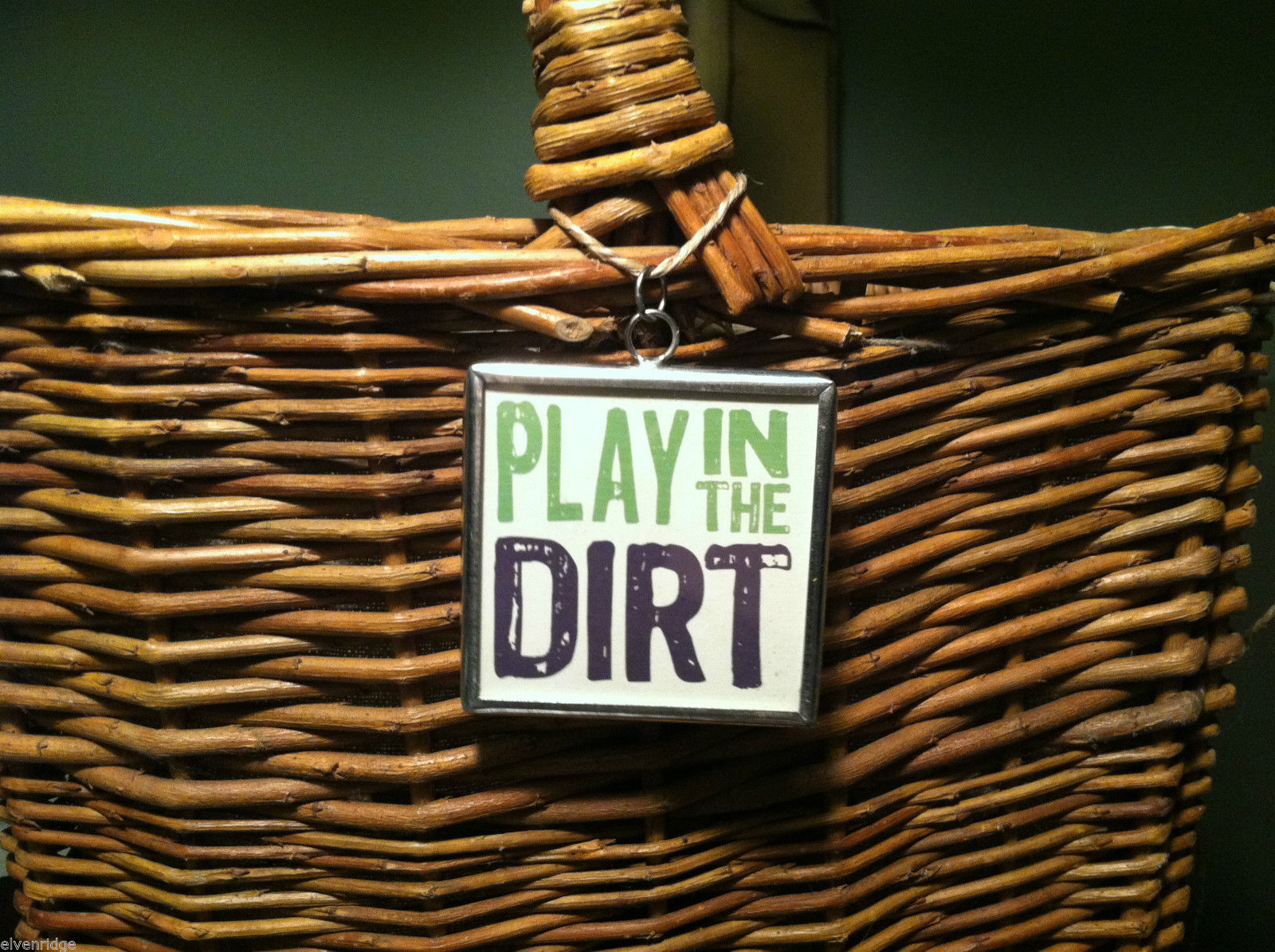 "2 Sided Charm - ""Play in the Dirt"" w/ picture of Gardening Tools"