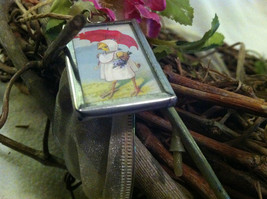 "2 Sided Charm - Spring chick with umbrella and ""April Showers Bring May Flowers"" image 3"