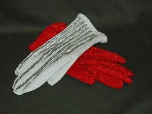 2 Vintage Gloves  red white sequin with metallic threads