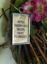 "2 Sided Charm - Spring chick with umbrella and ""April Showers Bring May Flowers"" image 5"