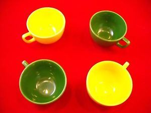 2 Yellow 2 Green Homer Laughlin  teacups mugs