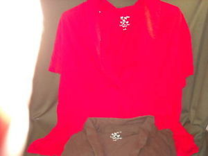 2 Womens Size 3X Red & Espresso summer cotton blouses
