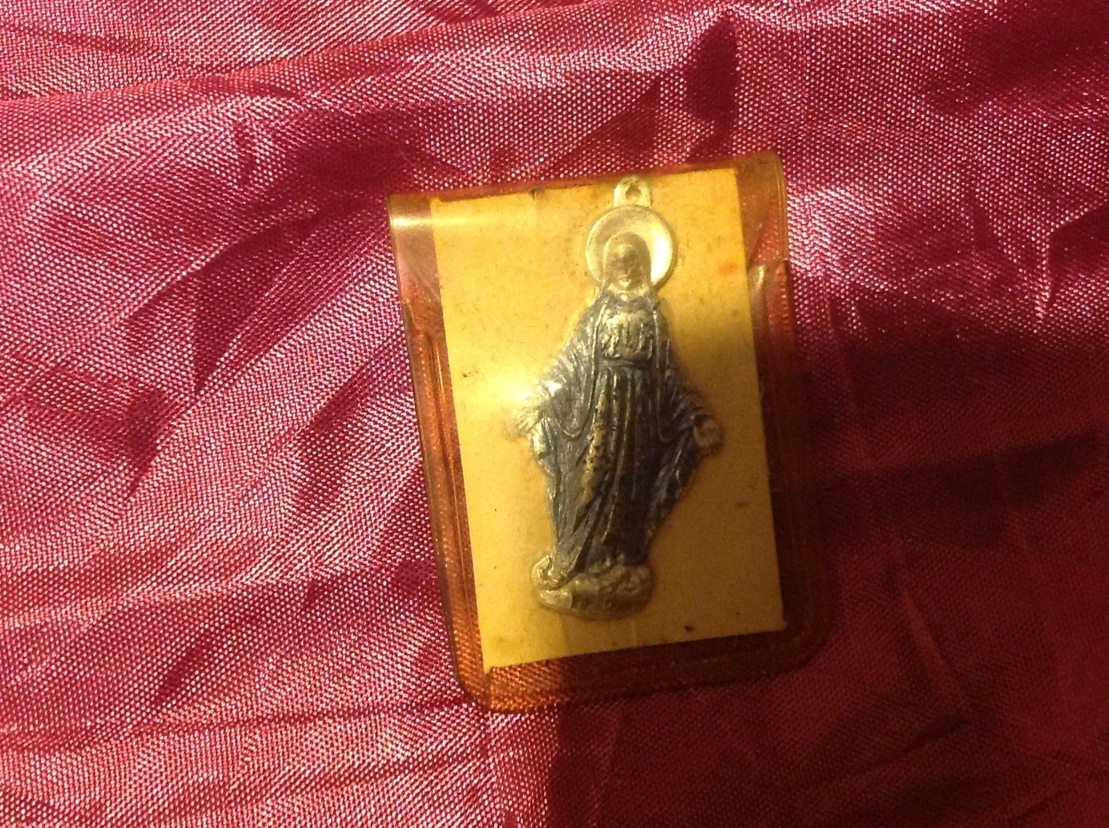"2"" Virgin Mary Silver Color Pendant charm vintage in original package"