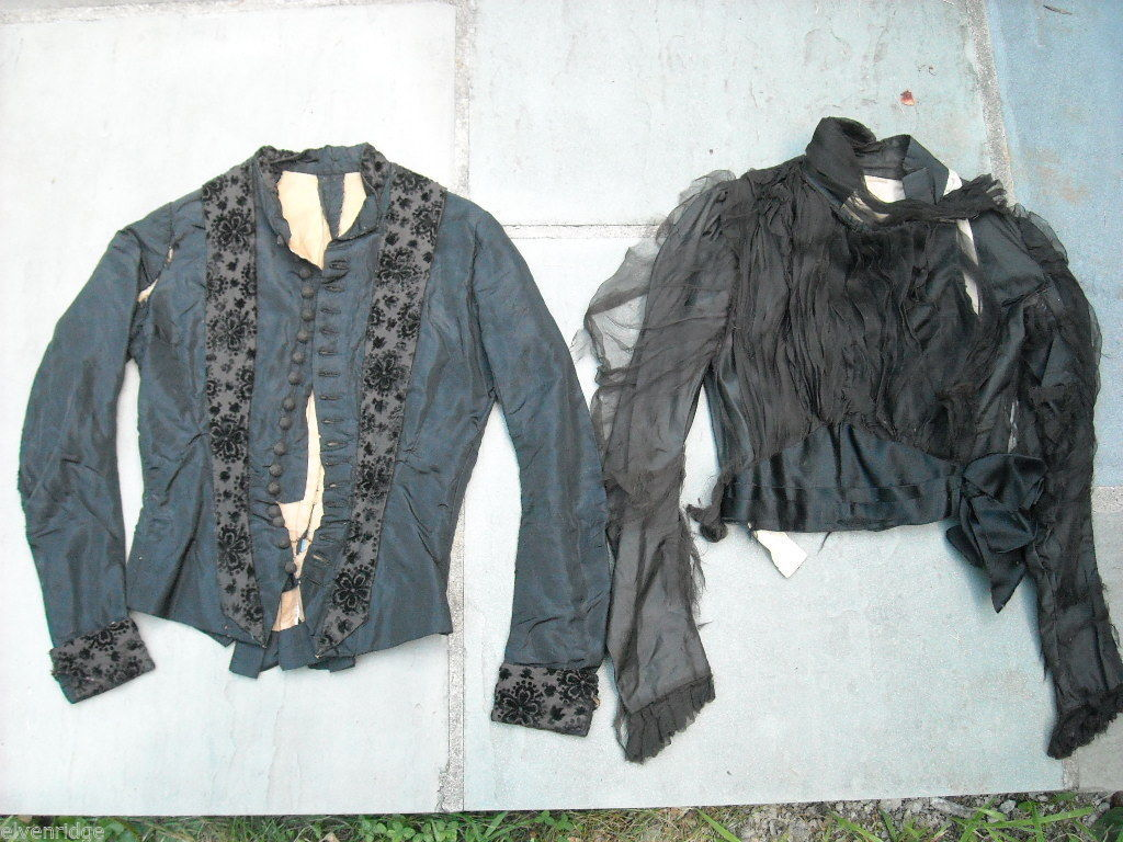 2 Vintage Victorian Style Long sleeved black on black bodices velvet and chiffon
