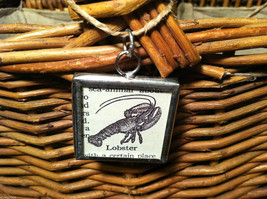 2 Sided Charm - picture of Lobster and Definition in metal frame image 2