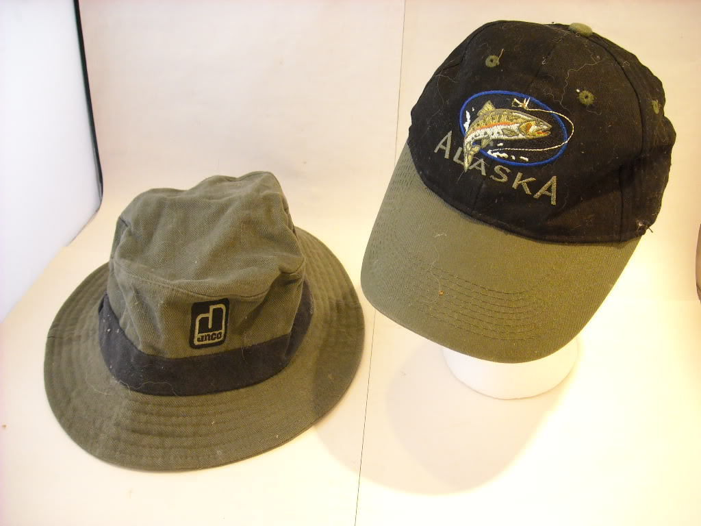 2 fishing hats baseball style and canvas Alaska