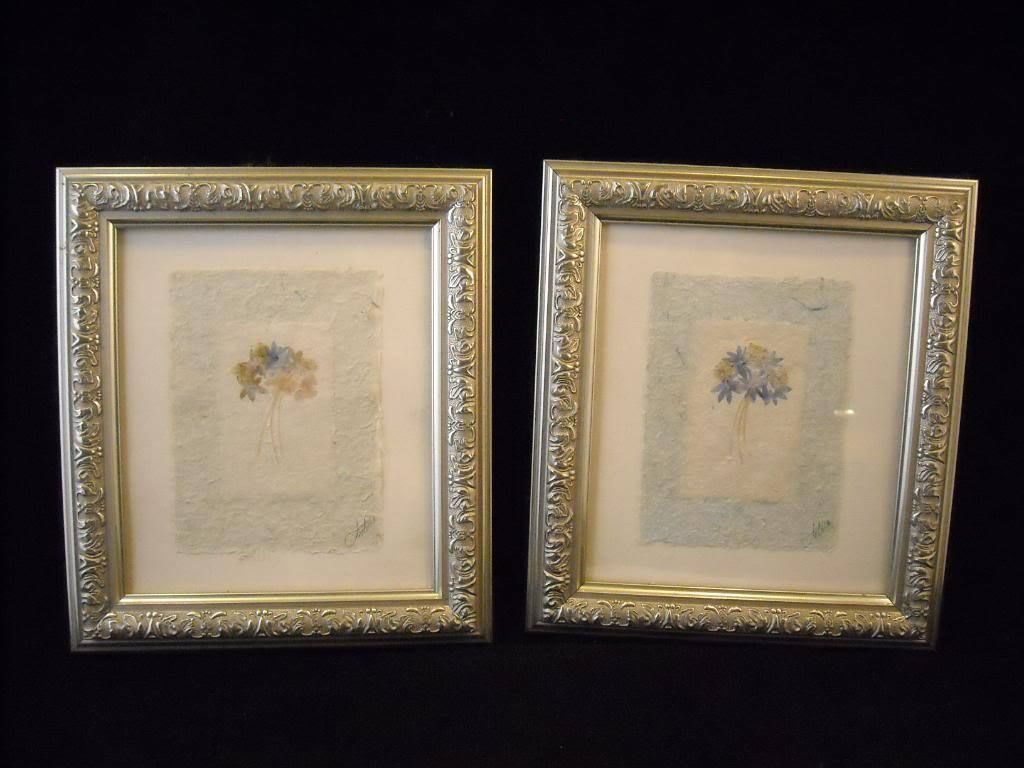 2 framed dried flowers ornate design