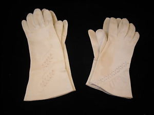 2 vintage Pair of Womens Dress Gloves Embroidery Hooks