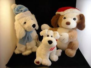 3 LArge stuffed dogs w holiday themes huggable hound