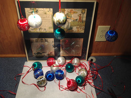 20 Piece Ornament  Set Colorful Balls Red Green Blue White Good Condition