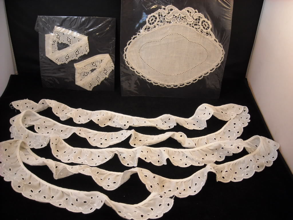 3 Antique Pieces of White Ruffled and Flat Lace