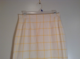 100 Percent Silk Fully Lined Natural White with Yellow Plaid A Line Skirt Size 8 image 2