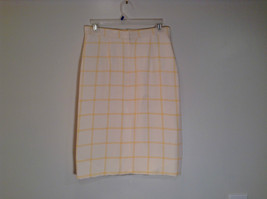 100 Percent Silk Fully Lined Natural White with Yellow Plaid A Line Skirt Size 8 image 3