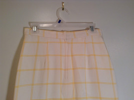 100 Percent Silk Fully Lined Natural White with Yellow Plaid A Line Skirt Size 8 image 4