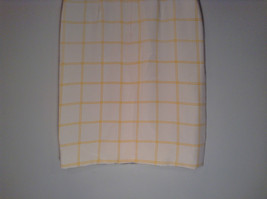100 Percent Silk Fully Lined Natural White with Yellow Plaid A Line Skirt Size 8 image 5