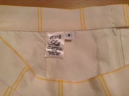 100 Percent Silk Fully Lined Natural White with Yellow Plaid A Line Skirt Size 8 image 6