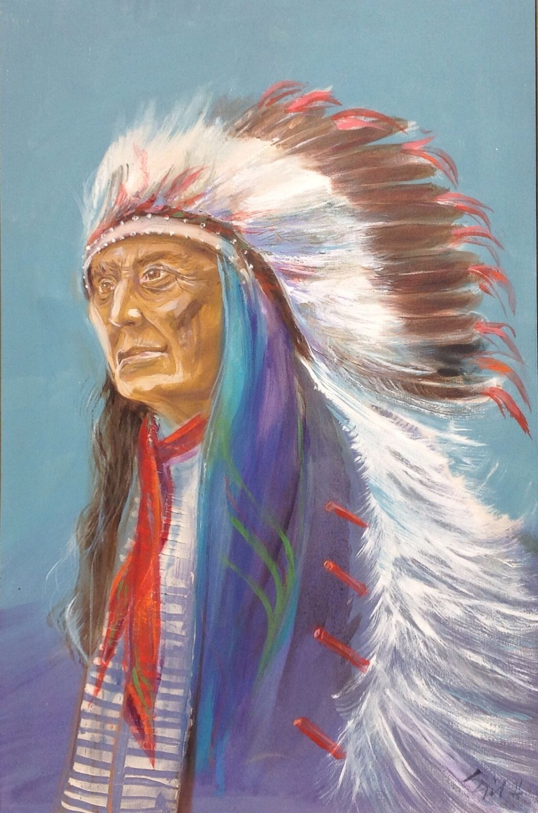 "24"" x 36"" Oil on Canvas Indian Chief Painting unknown artist"